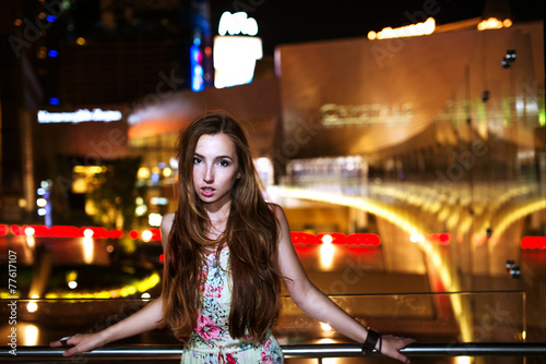 Foto op Aluminium Las Vegas Sexy girl with windy hairs at night lights of Las Vegas