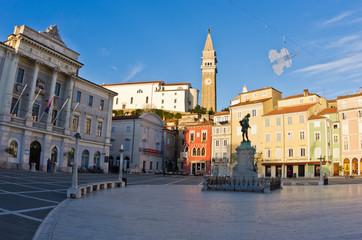 Tartini square with colorful buildings in Piran, town in Istria