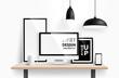 Modern workspace design. Vector - 77617529