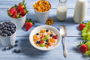 Ingredients for a healthy and tasty breakfast