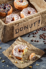 Closeup of donuts with coffee
