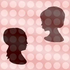 Two heads silhouetten on vintage polka dot gradient background