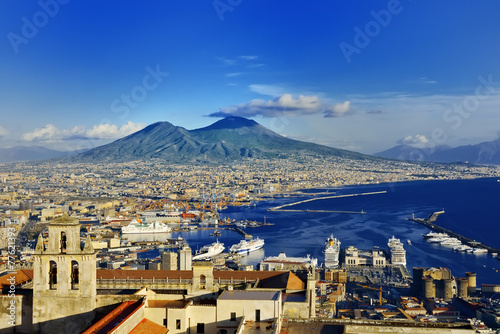 Fotobehang Europa Naples and Vesuvius panoramic view, Napoli, Italy