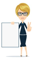 Business woman holding a poster, vector illustration