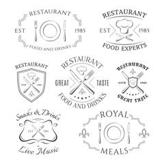 Set of heraldic restaurant logos, labels and badges