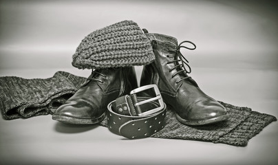 knitted scarf and hat, leather shoes, leather belt with a buckle