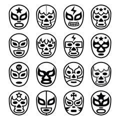Lucha Libre Mexican wrestling masks - line black icons