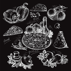 hand-drawn pizza illustration on a black background