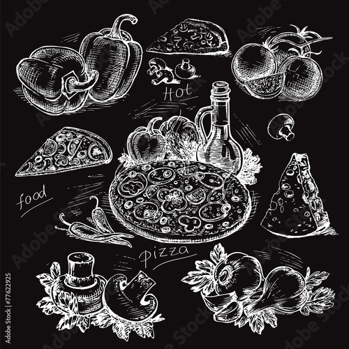 Fotobehang Restaurant hand-drawn pizza illustration on a black background