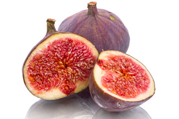 Figs and two halves on white