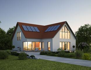 Einfamilienhaus Dach rot Abend