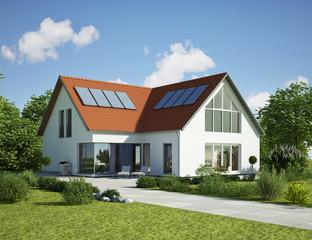 Einfamilienhaus Dach rot Tag