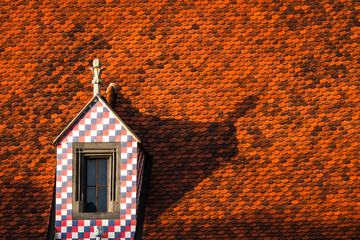 The famous red-tiled roofs in Bratislava, Slovakia