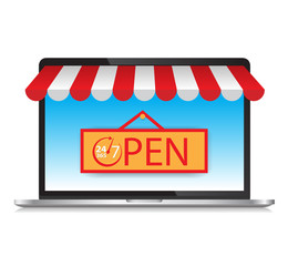 Laptop with awning Open 24 hours a day,  7 days, 365 day