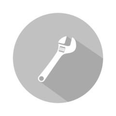 Icono llave inglesa gris botón sombra