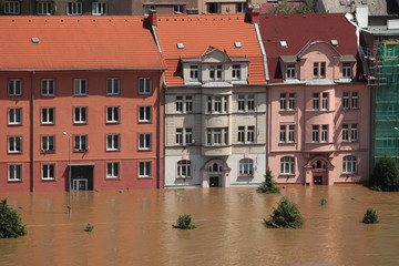 Floods in Usti nad Labem, Czech Republic.