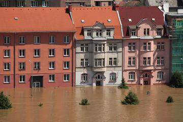 Floods in Usti nad Labem, Czech Republic.