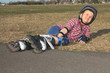 Boy having fun, rollerblading outdoor on a sunny summer day - 77625107