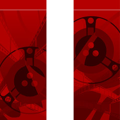 red background with filmstrip and coils