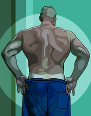 large male athlete view from the back