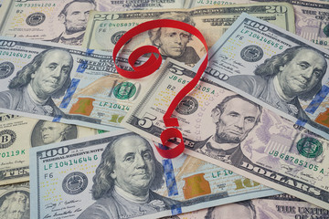 Background from dollars and question mark