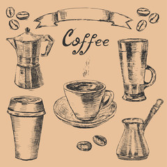 Setsketch style coffee cups and items