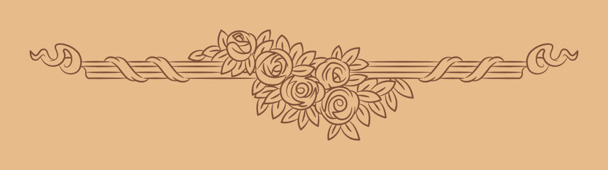 Vintage vector vignette with rose flowers