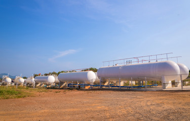 Natural Gas storage tanks in industrial plant