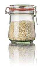 Basmati Reis in einem Einmachglas