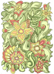 Spring hand drawing. Vector floral banner with flowers.