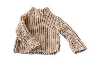 Beige baby sweater knit from acrylic yarn