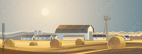 Rural landscape with bales of hay. - 77628325