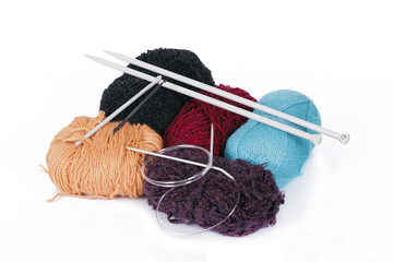 knitting yarn and knitting needles