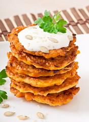 Pumpkin pancakes with sour cream
