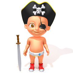 Baby Jake pirate 3d illustration