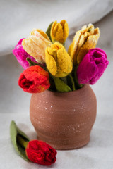 Bouquet of flowers in a clay pot