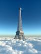canvas print picture - Eiffelturm über den Wolken