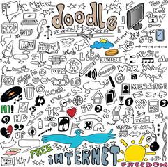big set Internet communication doodles isolated on white