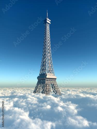canvas print picture Eiffelturm über den Wolken