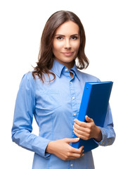 Businesswoman with blue folder, on white