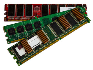 Some modules DDR RAM memory computer on white background