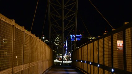 Pedestrian bridge into the city to the overhead structure