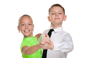 Two happy dancing children