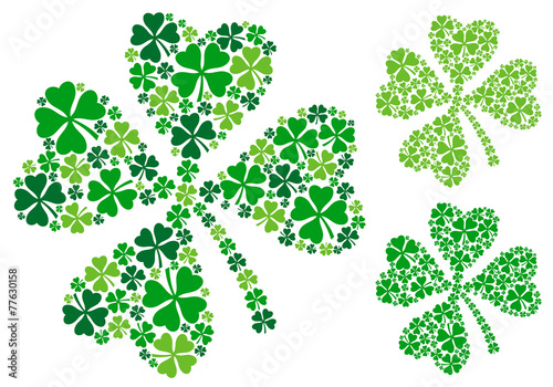 four leaf clover for St. Patrick's day, vector - 77630158