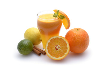Citrus juice and fruits on white background