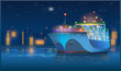 large cargo ship at night - 77630744