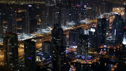 time lapse aerial view freeway in Dubai at night