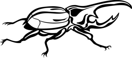 Vector scarab beetle, tattoo style, fully editable eps file
