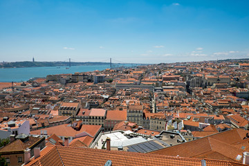 View over Lisbon in Portugal with the river Tagus