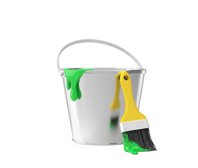 Bucket with paint and brush